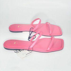 Zara Square Toe Leather Slide Sandals Size 8 NWT
